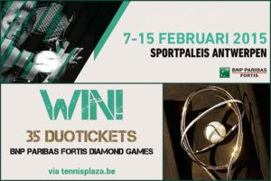 Tennisplaza België wedstrijd 25 duotickets BNP Paribas Fortis Diamond Games 2015