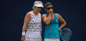 Kirsten Flipkens en Bethanie Mattek-Sands - © Jimmie48 Tennis Photography