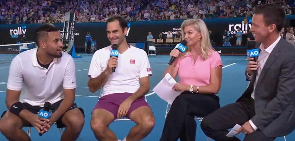 Nick Kyrgios en Roger Federer - © Youtube