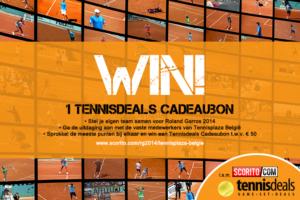 Tennisplaza België wedstrijd 1 Tennisdeals cadeaubon (Roland Garros 2014)