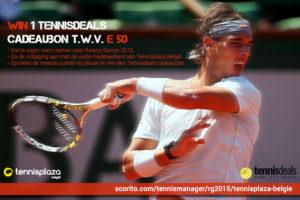 Tennisplaza België wedstrijd 1 Tennisdeals cadeaubon (Roland Garros 2015)