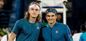 Stefanos Tsitsipas en Roger Federer - © Christophe Moons (Tennisplaza)