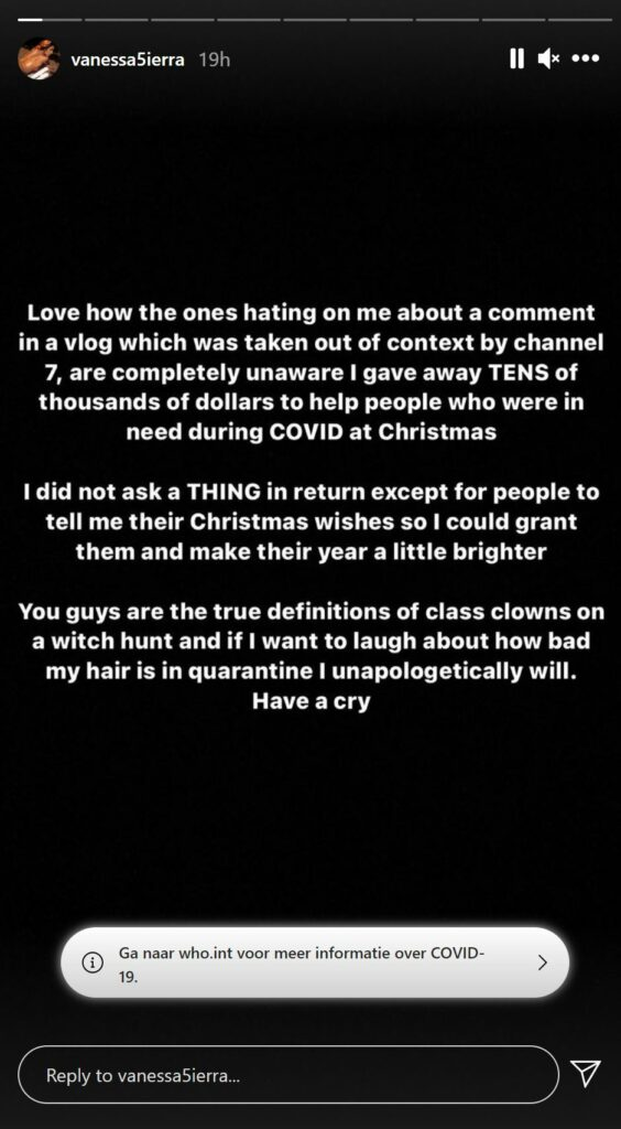 Vanessa Sierra Instagram story - © Vanessa Sierra (Instagram)