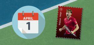 Postzegel David Goffin op 1 april - © Ultimate Tennis Showdown, iStock en Tennisplaza