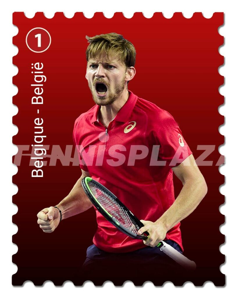Postzegel David Goffin - © Ultimate Tennis Showdown en Tennisplaza
