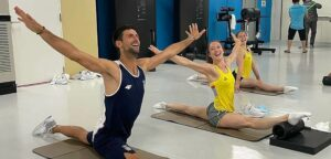 Novak Djokovic en Nina Derwael - © Team Belgium (Instagram)